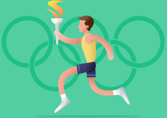 Runner with Olympic Flame, Illustration