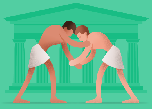 Illustration of Ancient Greek Wrestlers